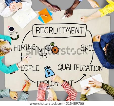 Recruitment Hiring Skill Qualification Job Concept - stock photo