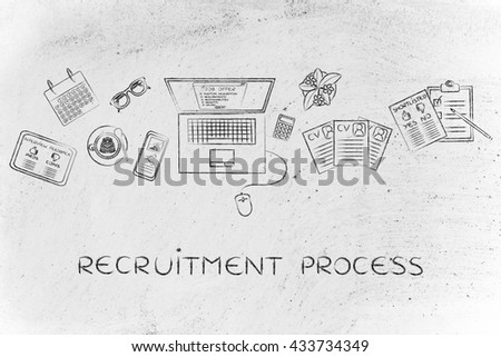 recruitment process: recruiter desk with mixed resumes and shortlists for the job offer on laptop screen