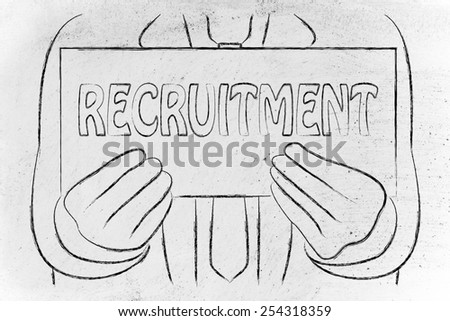 Recruitment sign in the hands of a business man  - stock photo