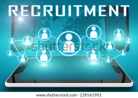 Recruitment - text illustration with social icons and tablet computer and mobile cellphones on cyan digital world map background - stock photo