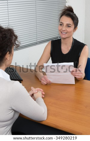 Recruitment : two  women sitting in office during an appointment
