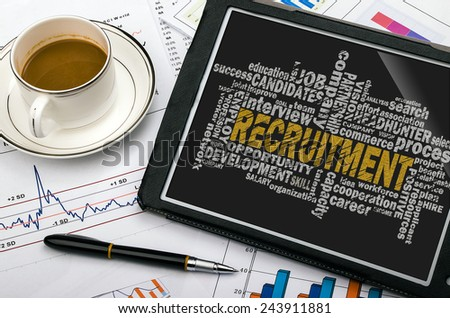 recruitment word cloud with related tags - stock photo