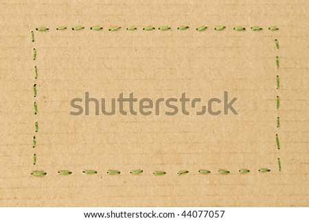 Rectangle Cardboard with Stitched String Outline