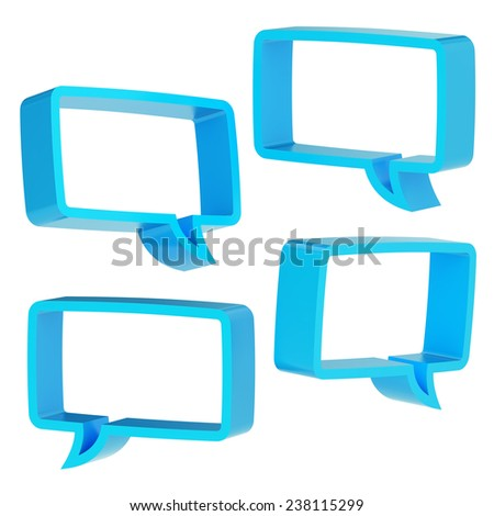 Rectangle shaped blue text bubble dimensional shapes isolated over the white background, set of four foreshortenings - stock photo