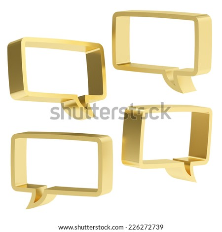 Rectangle shaped golden text bubble dimensional shapes isolated over the white background, set of four foreshortenings - stock photo