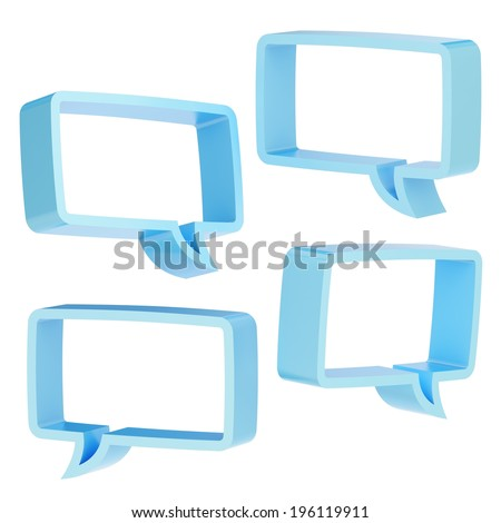 Rectangle shaped light blue text bubble dimensional shapes isolated over the white background, set of four foreshortenings - stock photo
