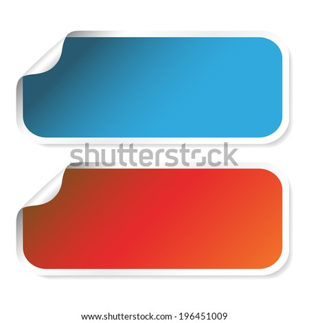 rectangle stickers - red, blue