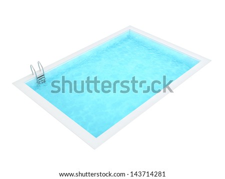 Rectangle Swimming Pool Isolated on White Background - stock photo