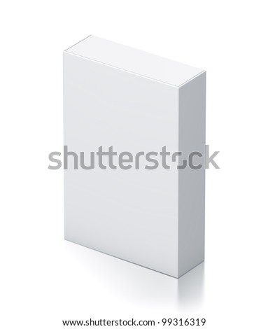Rectangle white box. High resolution 3D illustration with clipping paths. - stock photo