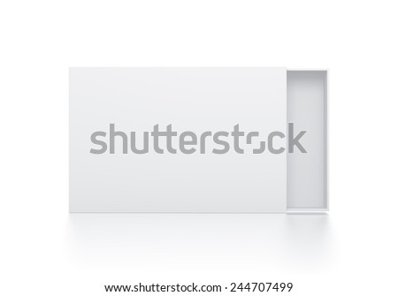 Rectangle white box illustration on isolated background. High resolution 3D illustration with clipping paths. - stock photo