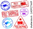 Rectangular and round free shipping rubber stamp - stock photo