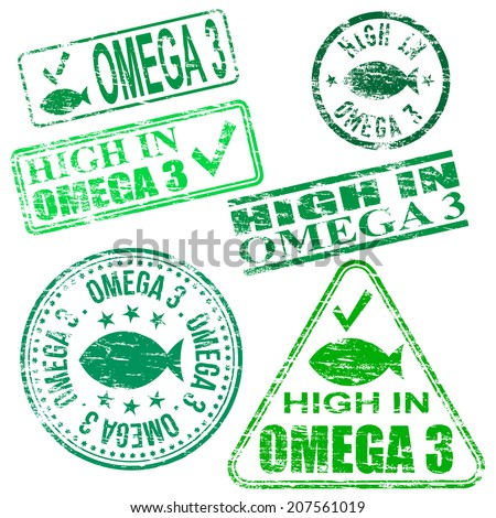 Rectangular and round Omega 3 rubber stamps  - stock photo