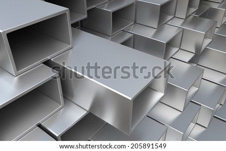 Rectangular and square metal Tube and pipe. Industrial 3d illustration - stock photo