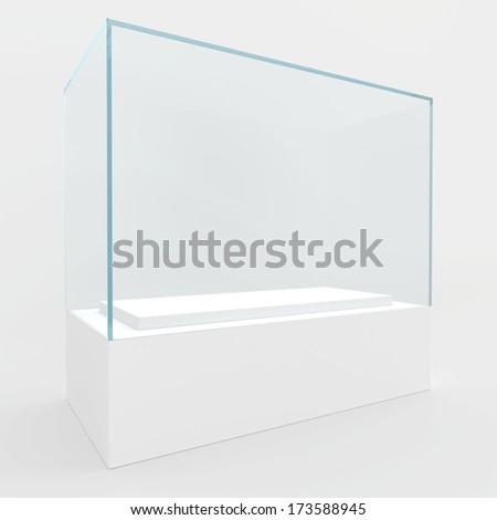 Rectangular glass showcase of bluish glass. 3d render. - stock photo