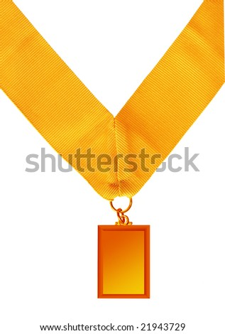 rectangular gold medal isolated on white background - stock photo