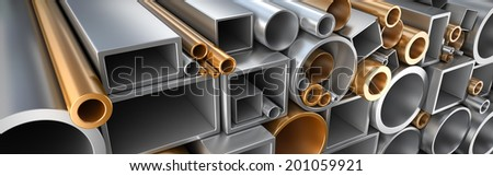 Rectangular, round and square Tube and pipe, Industrial 3d illustration.