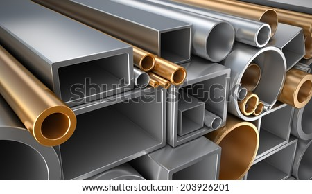 Rectangular, round and square Tube and pipe, Industrial 3d illustration. - stock photo