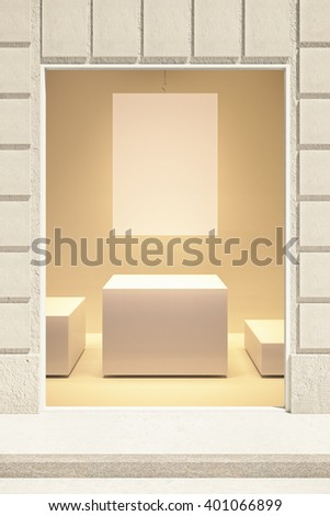Rectangular showcase exterior with blank poster and stand. Mock up, 3D Rendering - stock photo