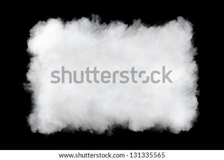 rectangular smoke cloud background, isolated on black - stock photo