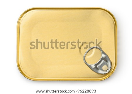 Rectangular tin with ring pull. Isolated on a white. - stock photo