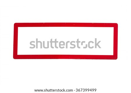 Rectangular traffic sign without inscription with red border. - stock photo