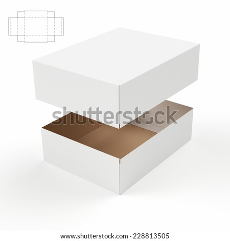 Rectangular Tray and Lid Box with Die Cut Template - stock photo