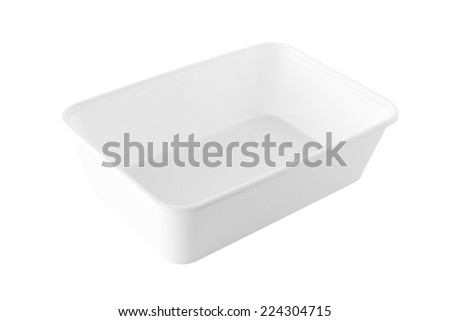 Rectangular White Plastic Tray no cover isolated on white background