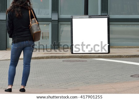 Recyclable bin advertising - stock photo