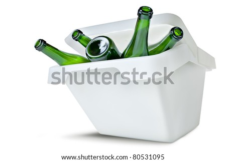 recyclable glass bottles in trashcan isolated over white background - stock photo