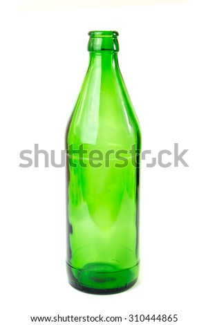 Recyclable green glass bottle. Recyclable waste series.