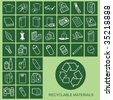 Recyclable Material Icons Individually Layered - stock photo