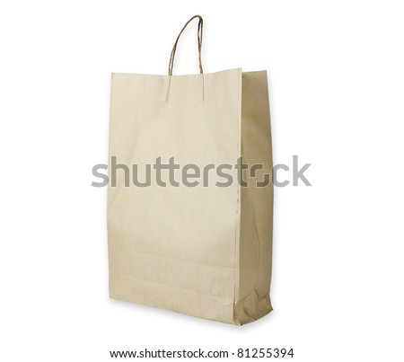 Recyclable paper bag isolated - stock photo