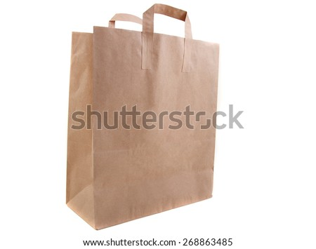 Recyclable paper bag isolated on white background - stock photo