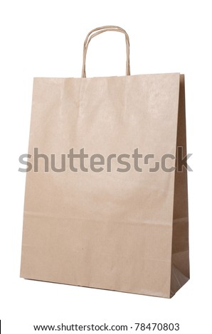 Recyclable paper bag isolated on white background. - stock photo
