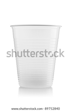 recyclable plastic cup isolated on white background - stock photo