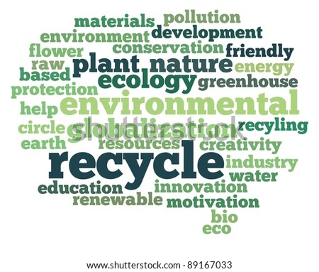 Recycle and environmental illustration concept info-text graphics and arrangement word clouds concept - stock photo
