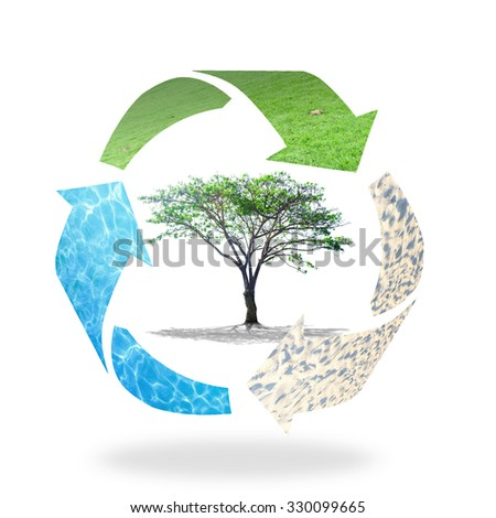 Recycle arrow symbol made of grass, water and soil texture protecting big tree. Recycle Icon Saving Ecology Biology Soil Earth Hour Rethink Reduce Reuse Recycle Recondition Refuse Return CSR concept. - stock photo