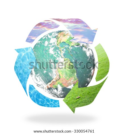 Recycle arrow symbol made of grass, water and sunset sky texture protecting earth globe on white background. Recycle icon: Saving world environmental concept. Elements of this image furnished by NASA. - stock photo