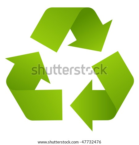 Recycle arrows isolated on white. - stock photo