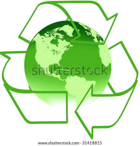 Recycle arrows with green earth - stock photo