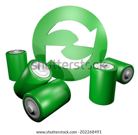 Recycle batteries - stock photo