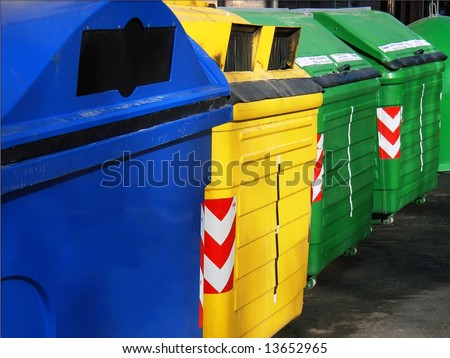 Recycle Bin containers to separate materials (Majorca - Balearic Islands - Spain) - stock photo