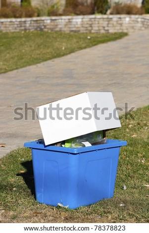 Recycle bin curbside - stock photo