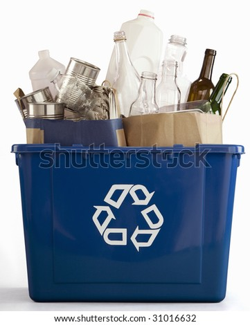 Recycle bin filled with recyclables