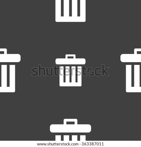 Recycle bin icon sign. Seamless pattern on a gray background. illustration - stock photo