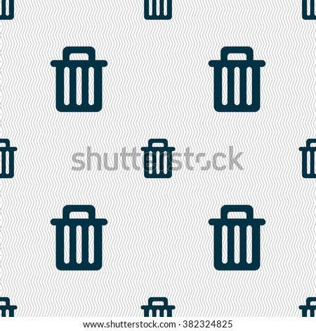 Recycle bin icon sign. Seamless pattern with geometric texture. illustration - stock photo