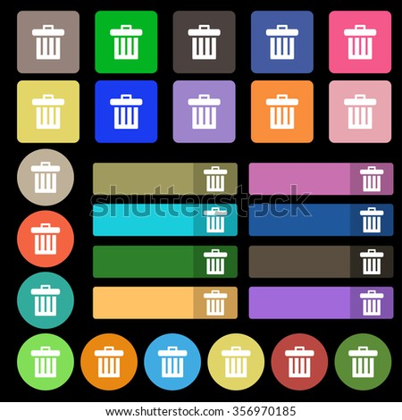 Recycle bin icon sign. Set from twenty seven multicolored flat buttons. illustration - stock photo