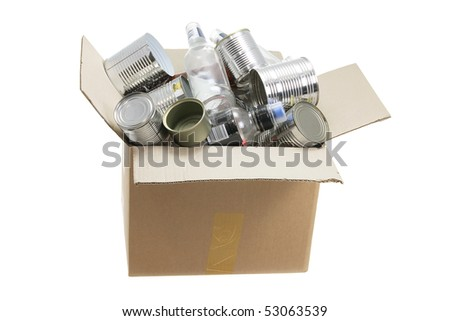 Recycle Bin on White Background - stock photo