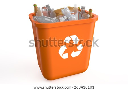 recycle bin with plastic bottles isolated on  white background  - stock photo