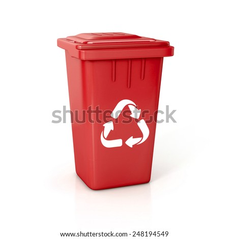 Recycle bin with recycle sign. 3d illustration isolated on white.  - stock photo